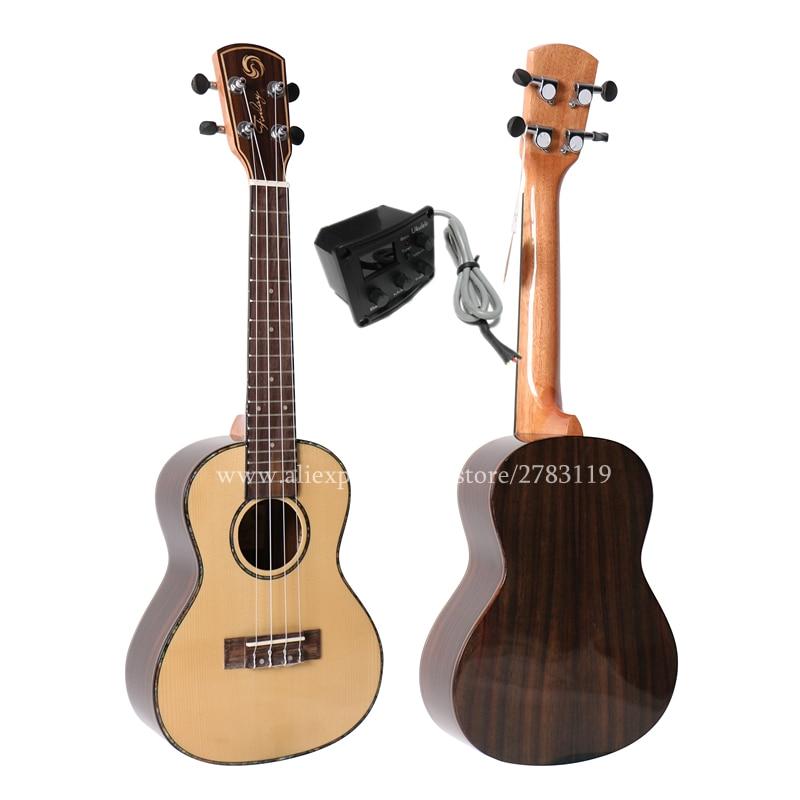 24 inch 18 Frets Solid Spruce/rosewood Ukulele Guitar Uke,4 Strings Hawaiian Guitar Musical Instruments,Electric ukelele 23