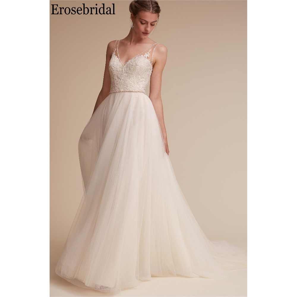 Erosebridal Simple Wedding Dress A Line Beaded V Neck Elegant Beach Bridal  Gown Detachable Belt 2019 eda2f8cbe9b8