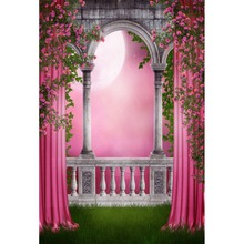 Laeacco Vinyl Backdrops Dreamy Pink Old Arch Door Pillar Flower Moon Green Grass Party Baby Scenic Photo Background Studio