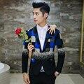 Bloco de manta de lã terno 2016 moda elegante fino xadrez de lã outerwear terno masculino