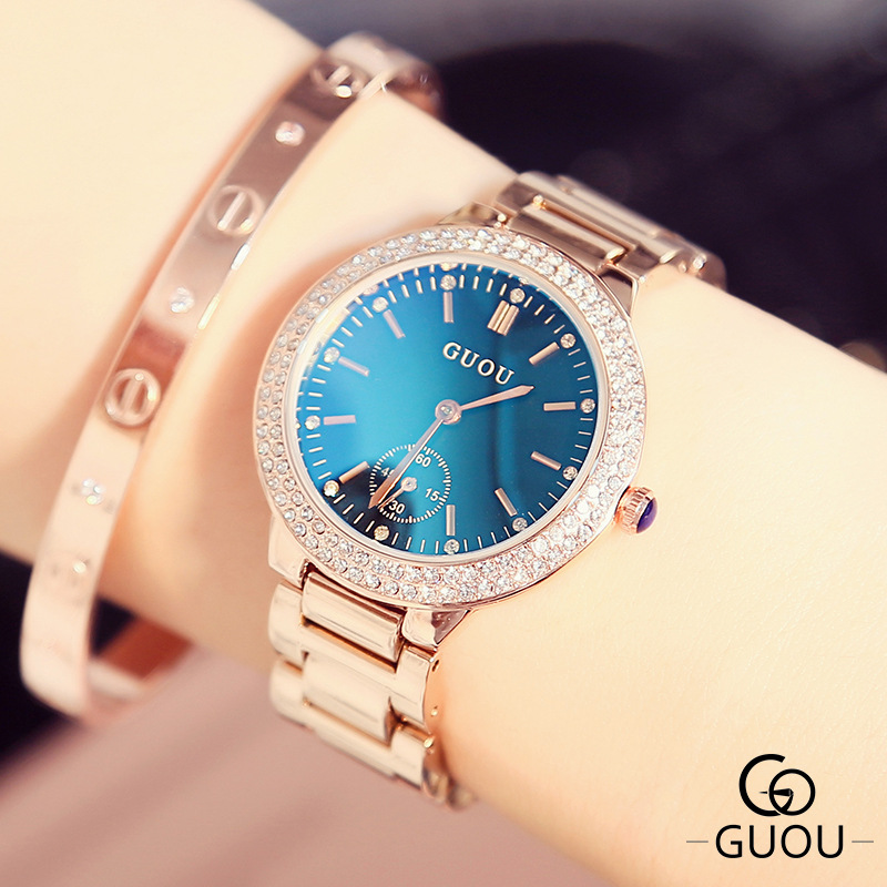 2019 New Women Sapphire Crystal Rhinestone Watch Fashion Women Diamond Rose Gold Quartz Watch Luxury Female