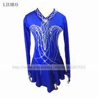 Фигурное катание платье Для женщин девочек Катание на коньках платье сочетать одежду Blue Холтер v образным вырезом Длинные рукава тонкий пол