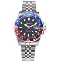 40mm PARNIS black dial Pepsi bezel Sapphire glass date GMT automatic mens watch