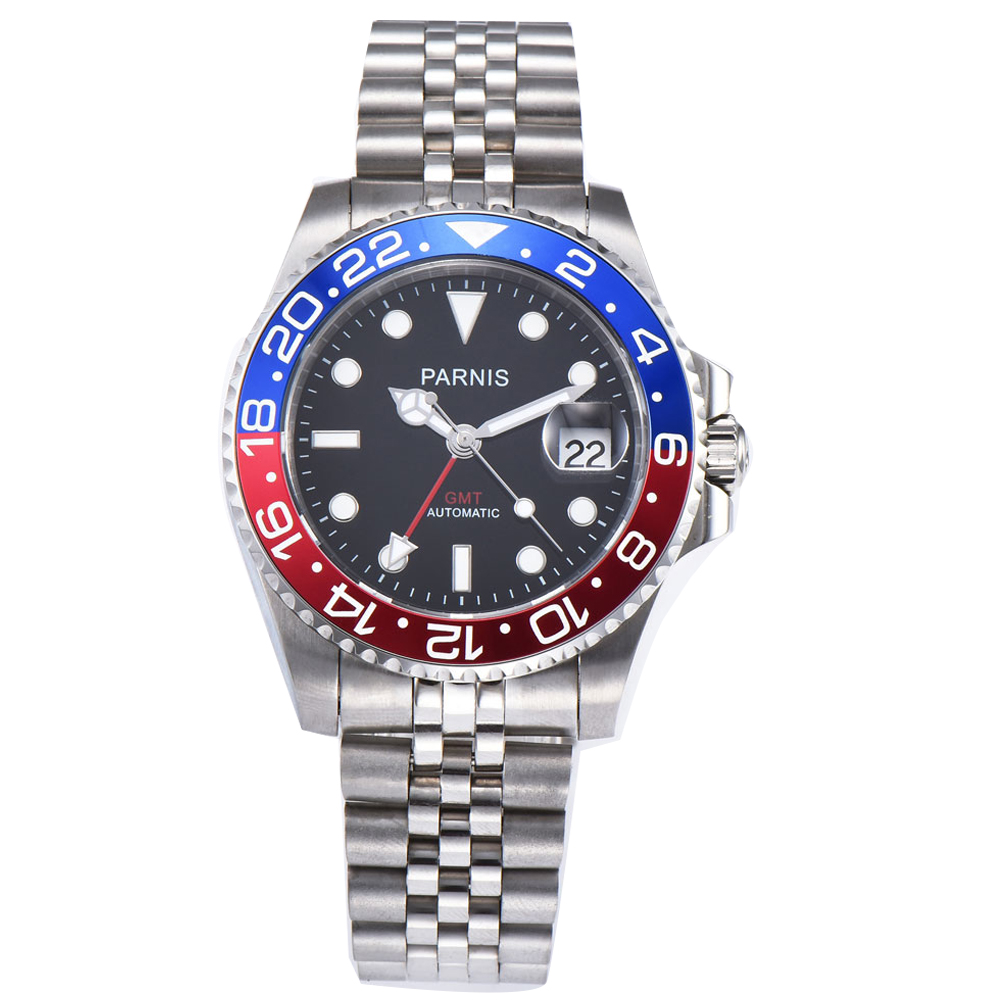 40mm PARNIS black dial Pepsi bezel Sapphire glass date GMT automatic mens watch цена и фото
