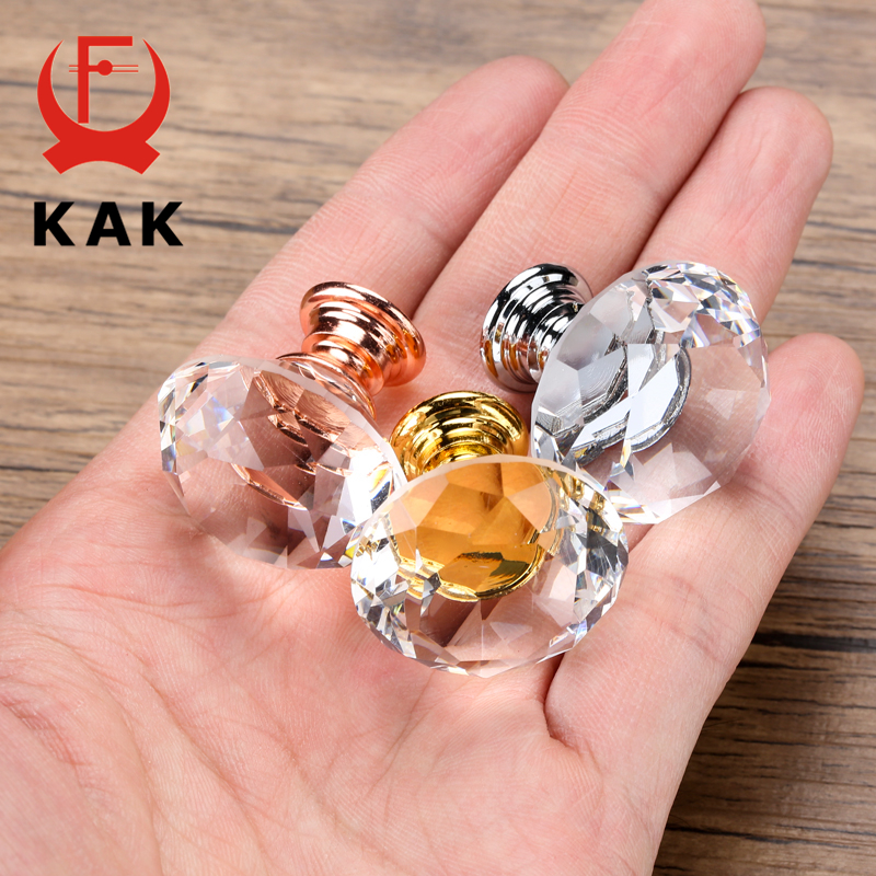 KAK 20-40mm Diamond Shape Design Crystal Glass Knobs Cupboard Drawer Pull Kitchen Cabinet Door Wardrobe Handles Hardware 3