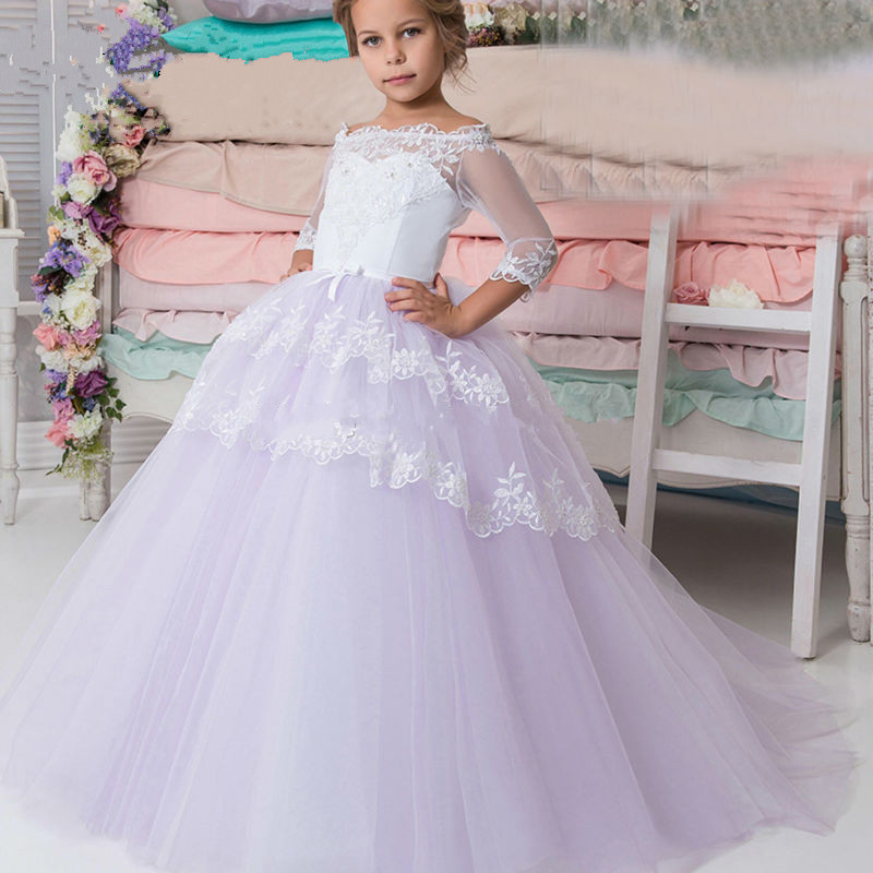 2017 High Quality Custom Made Flower Girl Dresses For Weddings Ball Gown Kids Pageant Gowns First communion Dresses For Girls 2017 best selling custom first communion dresses for girls ball gown white lace with bow flower girl dresses kids pageant gowns