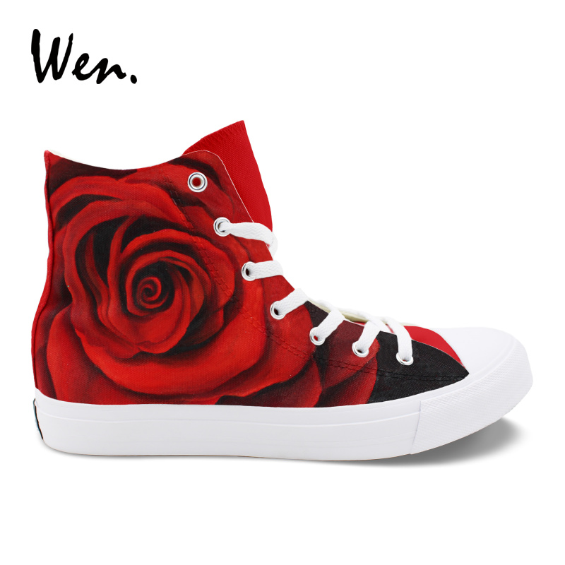 Wen Original Design Hand Painted Floral Shoes Red Rose Flower High Top Women Girls Canvas Sneakers Wedding Valentine's Gifts wen original hand painted shoes design rainbow color heart pattern pink slip on canvas sneakers gifts for girls women