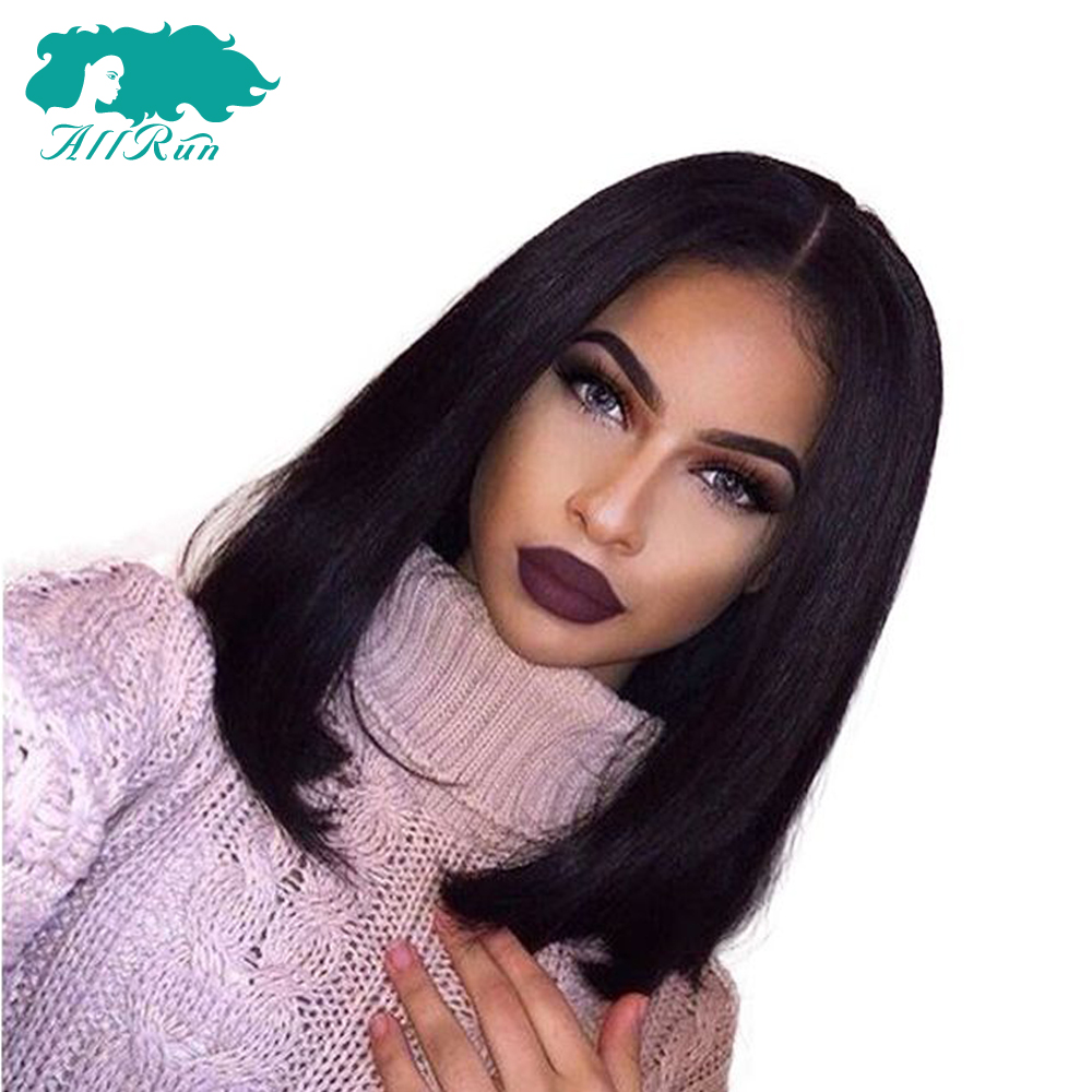 ALLRUN Lace Front Human Hair With Baby Hair Wigs 8-18 Natural Color Straight Hair Bob Wigs Non Remy For Women Middle Part