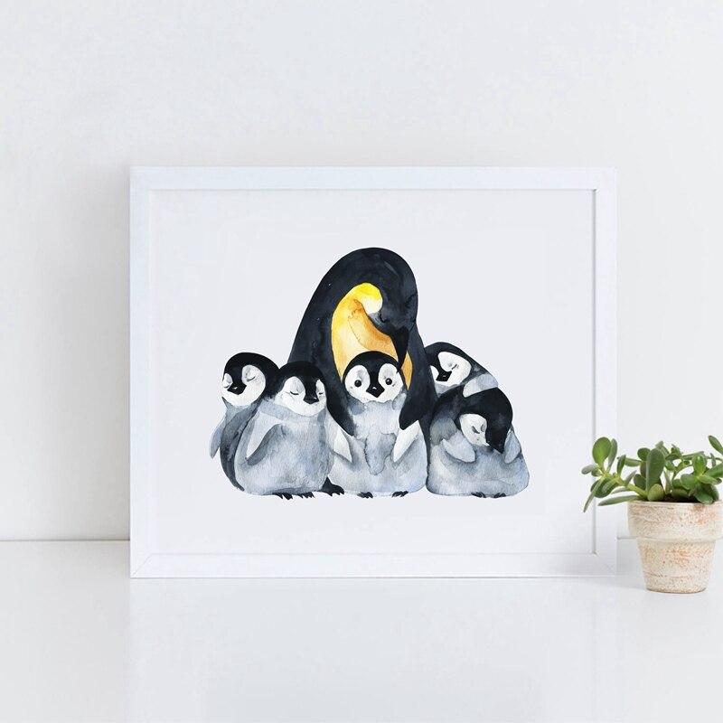 Pinguin Familie Drucken Bilder, aquarell Tier Pinguin Leinwand Kunst ...