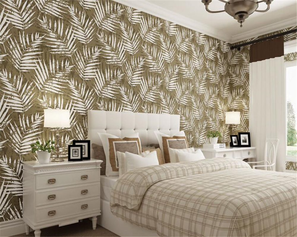papel de parede Modern Banana leaves wallpaper bedroom living room TV background 3d wall papers home decor behang Beibehang beibehang papel de parede 3d victorian damask wallpaper roll tv background embossed flowers wall papers home decor living room