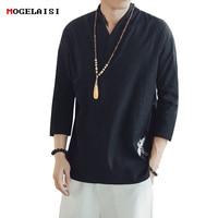 Linen Men T shirts Embroidery Three Quarter Sleeve Tees V neck tops&tee chinese style Retro animal pattern tshirt EU Size S XXL