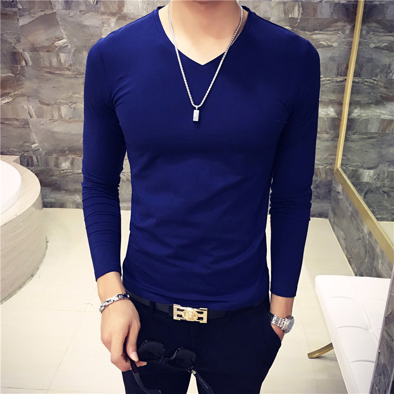 New Men T-shirt Classic Solid Color Soft Cotton Elasticity Long Sleeve Thin Bottom tshirt Casual v neck Male T shirt Top Tees Футболка
