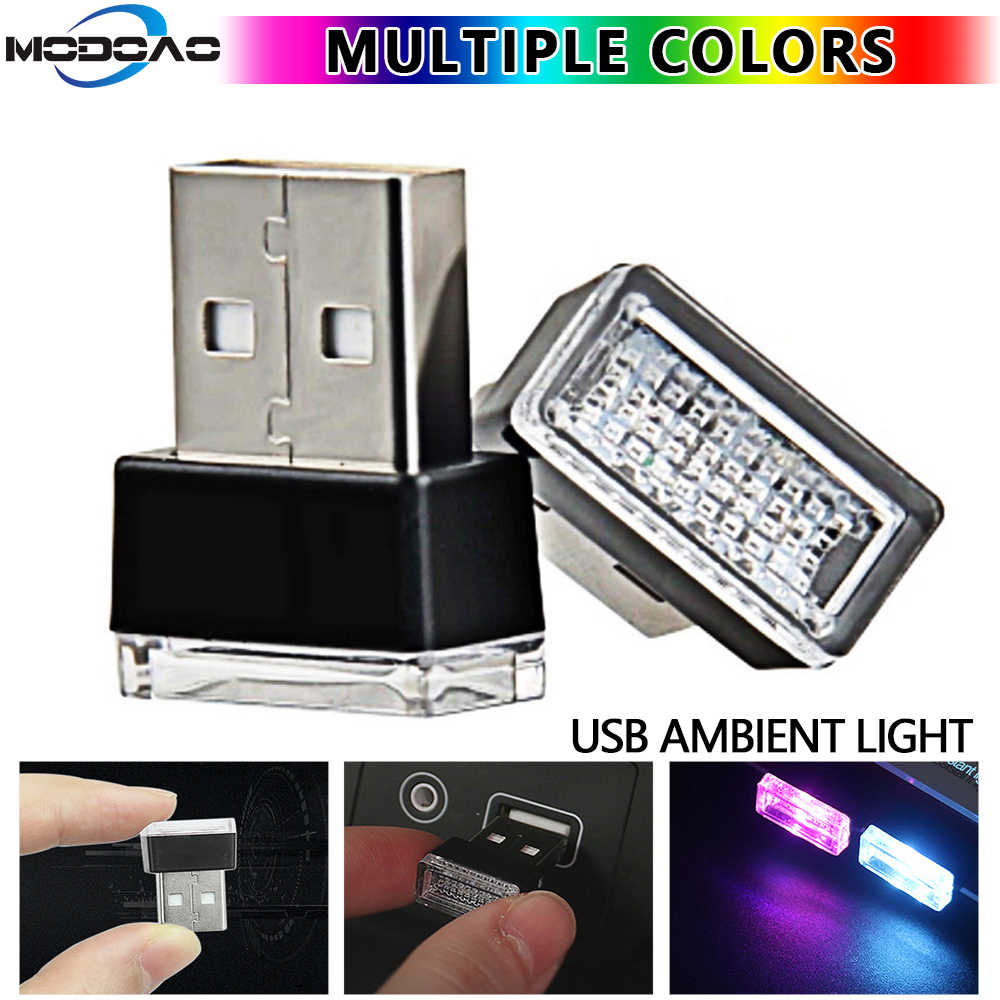 Mini USB LED Car Interior Decorative Light Neon Atmosphere Ambient Lamp 7 Colors