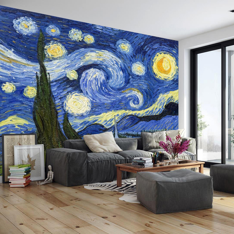 Continental Star Van Gogh painting wallpaper abstract seamless wallpaper art custom creative living room wall paintings TV bac customized home personalized seamless integration of the abstract paintings lotus wallpaper 1x3m