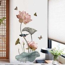 Adhesivo de pared de vinilo de flor de loto de estilo chino, póster Vintage, pegatinas de decoración para el Baño, Dormitorio, hogar, adhesivos, Mural