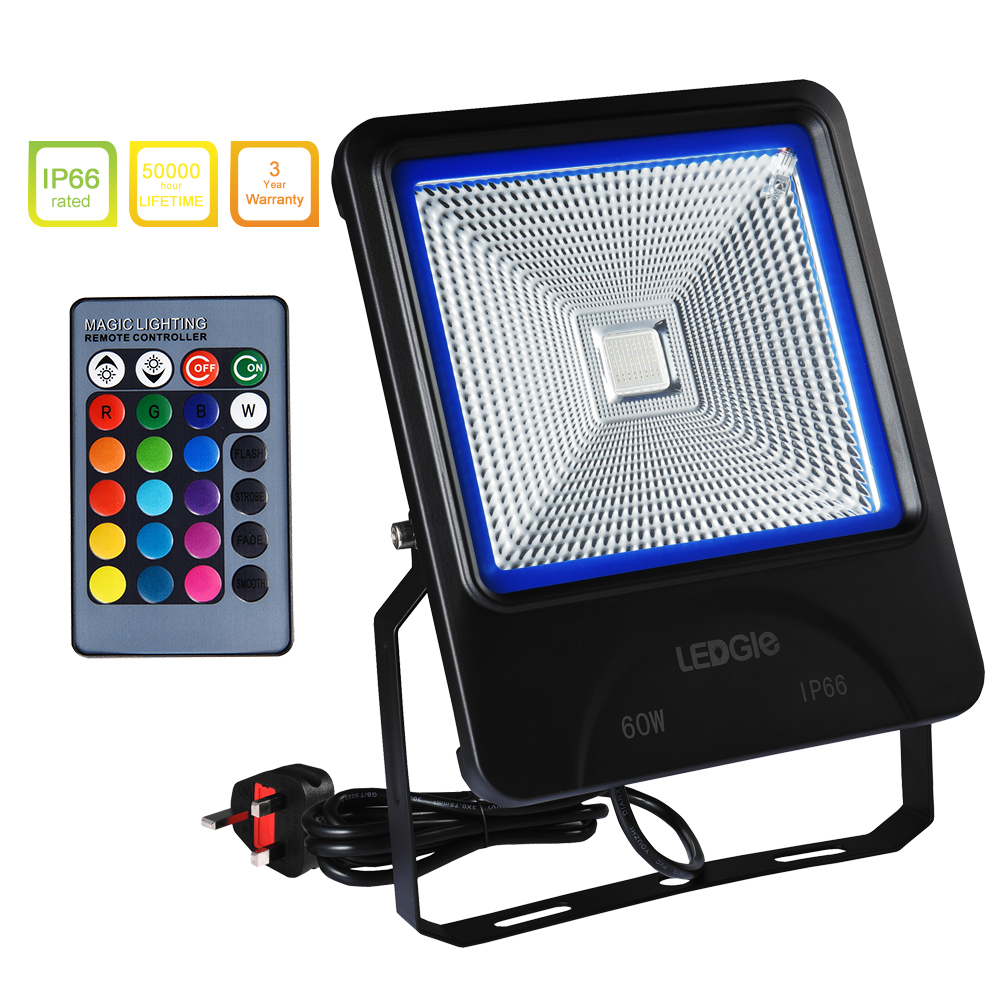 LEDGLE 60W LED Flood Lights RGB Floodlights Waterproof Outdoor Lights with Remote Control COB 16 Colors 4 Lighting Modes