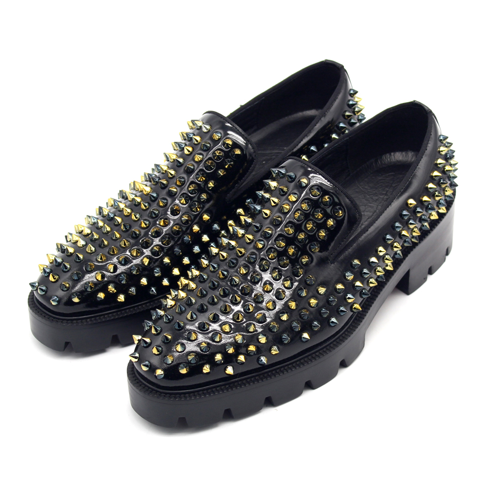 Spike Rivets Loafers for men High Platform Leather Formal Business Handmade Shoes Size euro 38-46