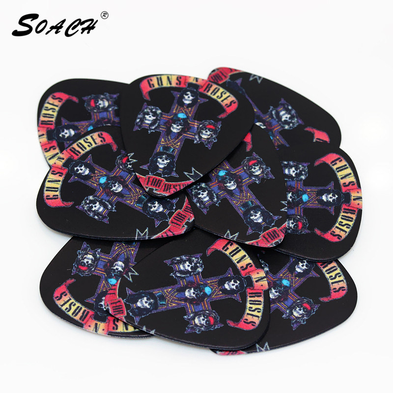 SOACH 10pcs/Lot 1.0mm Thickness Guitar Strap  Parts  Skull Cross   Guitar Picks Accessories  Pedal