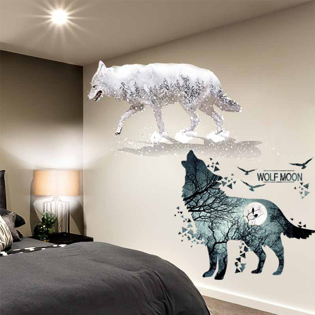 Shijuehezi Horrific Wolf Birds Wall Sticker Pvc Material Diy Animals Mural Decor For House Living Room Bedroom Decoration