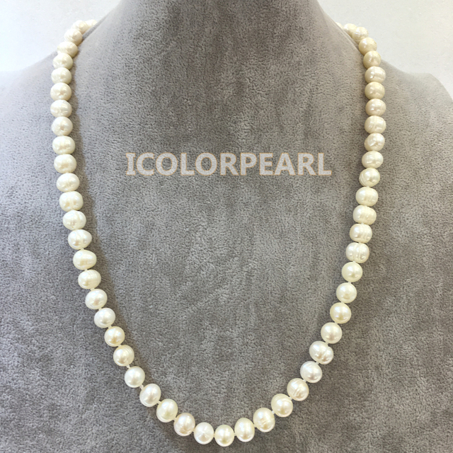 65cm  9-10mm Potato Shaped White Real Natural Cultured Freshwater Pearl Jewelry Sweater Necklace.