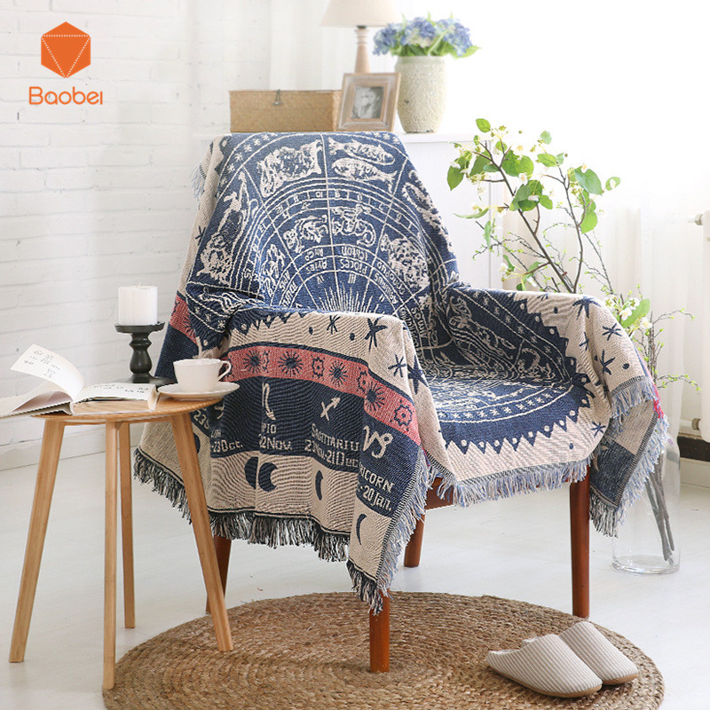 100% Cotton Thickening Tableclosofa decorative slipcover Throws on Sofa/Bed/Plane Plaids Rectangular stitching Blanket SF25