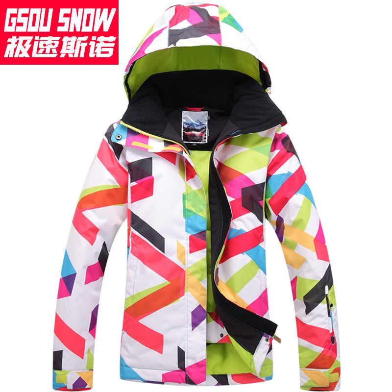 df59de2b95b59 ... Женская ветрозащитная водонепроницаемая зимняя горнолыжная куртка GSOU  SNOW, горные лыжи куртка женская, сноуборд куртка