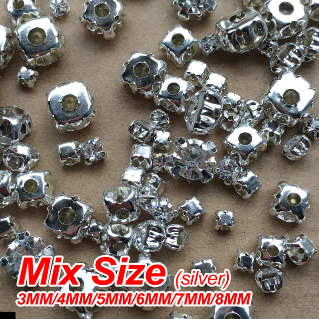 Hot sale Sew on Rhinestone Silver Gold claw Mix size 3mm 4mm 5mm 6mm ... 2ff6090aa7fd