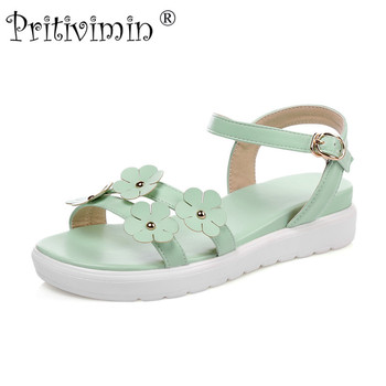 Pritivimin FN195 Fashion women's summer sandals laidies strappy high heel wedges girls pink mint green white blue portable shoes