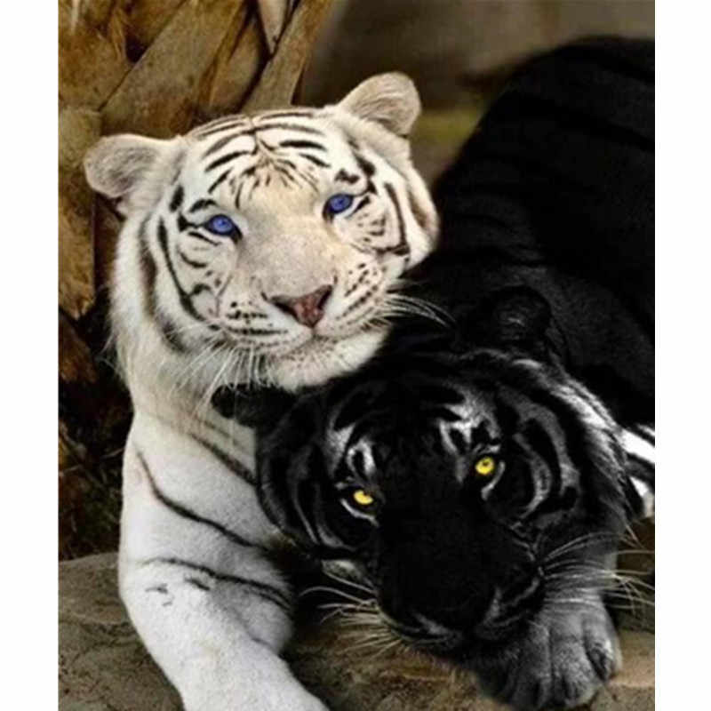 Painting By Numbers DIY Dropshipping 40x50 50x65cm Black and white tiger Animal Canvas Wedding Decoration Art picture Gift