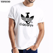 YOFOCOO New Dracarys t shirt for Men Game Of Thrones Aesthetic tshirt Mother of Dragon Daenerys Harajuku Clothes Khaleesi Camise цена и фото