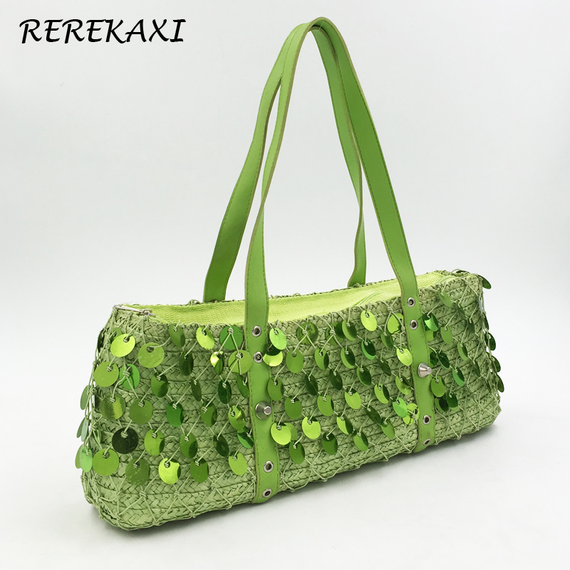 <font><b>REREKAXI</b></font> Candy Color Woman Handbag Bohemian Summer Straw Beach Bag Female Sequin Net Shoulder Bag Travel Shopping Tote image