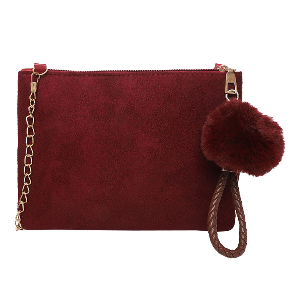 New Fashion Casual HOT Sale Beautican Women Hairball Solid Color Suede Crossbody Bag Clutch Bag Shoulder Bag Phone Bag