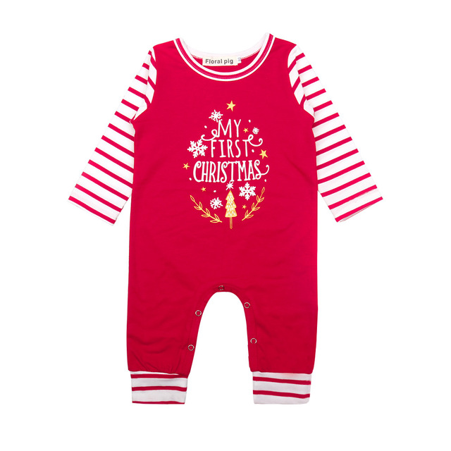 7e2375c49 Christmas Baby Clothes My 1St Christmas Print Romper Long Sleeve Red White  Striped Baby Jumpsuits Fall Baby Clothes Baby Onesie