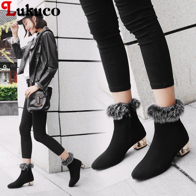 Lukuo 2019 New Sale Winter Warm Botas Fur Boots Large Plus Big Size 43 44 45 46 47 48 High Quality Free Shipping Shoes Women free shipping holiday sale new arrival free shipping winter and atumn cotton beanie hat kenmont brand high quality km 1363