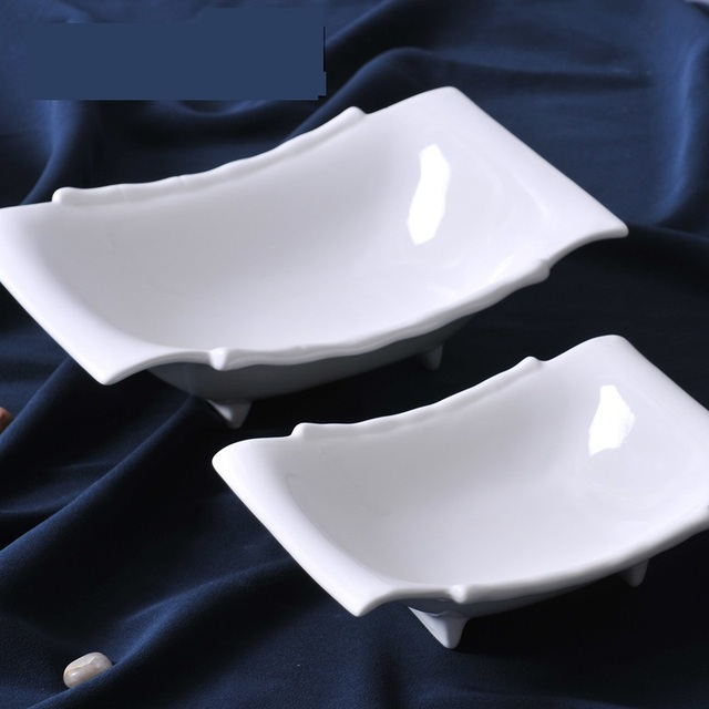 Superbe Concise Ceramic Footed Rectangle Serving Dish Set Decorative Porcelain  Dining Plate Tableware Ornament Craft For Pudding