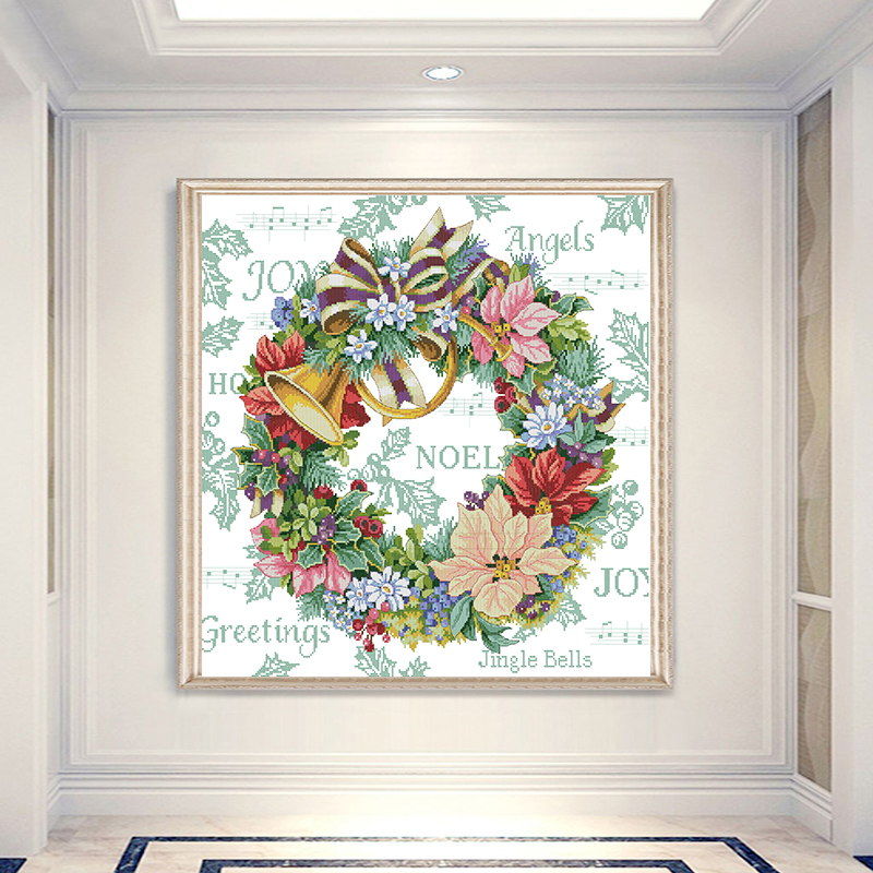 Joy Sunday Holiday Wreath Patterns Counted Cross-stitch DMC 11CT 14CT Handwork Beginner Cross Stitch Kit Embroidery Needlework