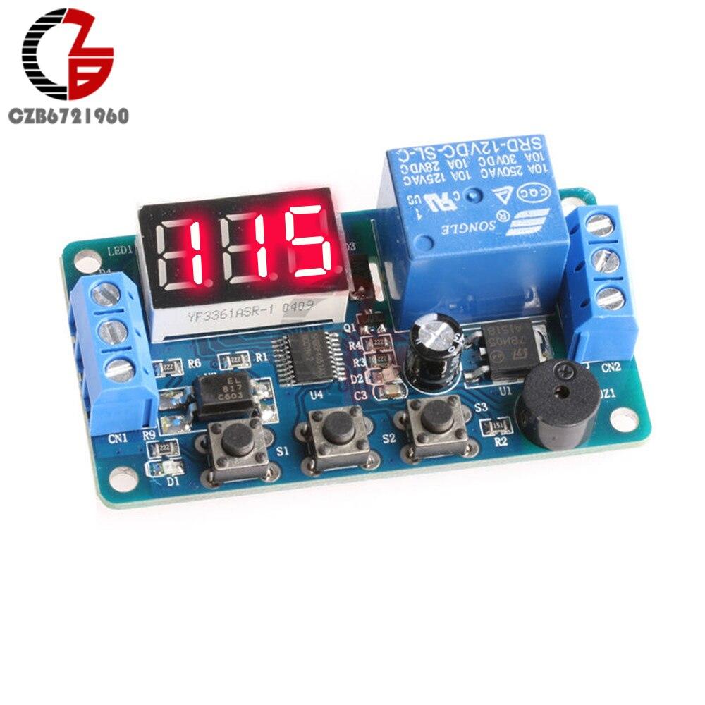 Digital LED Display Time Delay Relay Module Board DC 12V Control Timer Switch Trigger Cycle Module Car Buzzer PLC Automation цены в Москве 2017