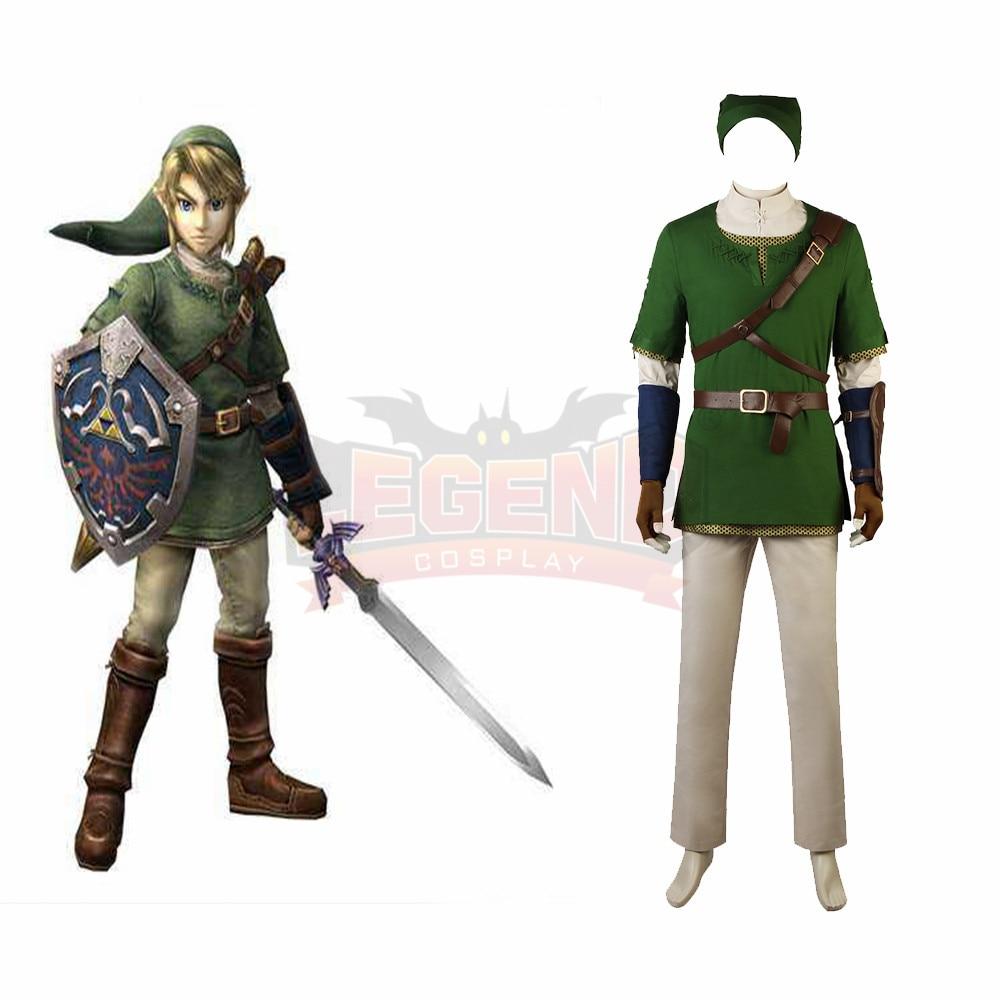 Game The Legend of Zelda Twilight Princess Link Cosplay adult costume Custom Made full set All size