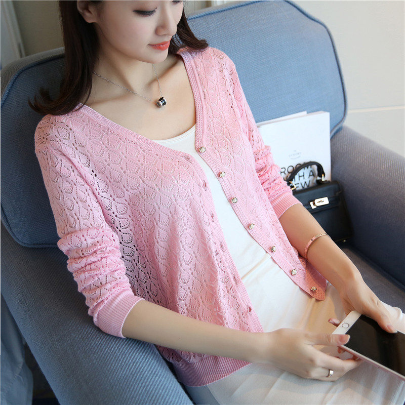 New Fashion 2019 spring summer female thin knitted sweater womens sunscreen short air conditionin cardigan