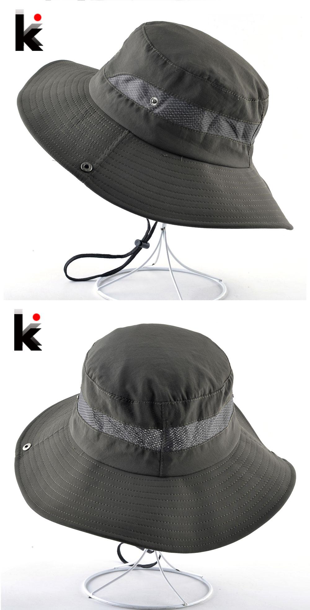 25381597 Wide Brim Bucket Hat Men Outdoor Breathable mesh Waterproof Sun Cap Solid  Color Sprot Hat Climbing Hiking UV Protection HatsUSD 8.21/piece