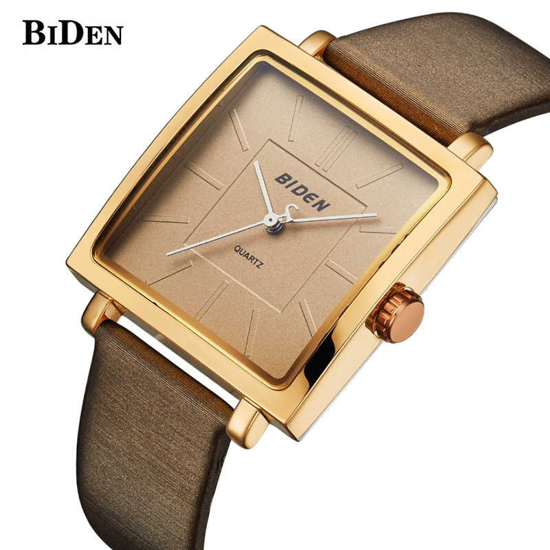 BIDEN Square Dial Women Simple Luxury Watches Charm Lady Girl Dress Leather Wristwatch Quartz Clock Reloj Mujer Lovers Gril Gift