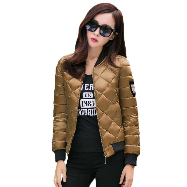 Spring Autumn Women Cotton Coat Stand Collar Short Padded Jacket Patch Design Argyle Slim Outwear Women Jackets and Coats PW0604