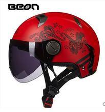 Красный цветок бабочка BEON B102 половина мотоцикл/мотоцикл шлем, женщин Kick scooter мотоциклист dirt bike шлемы