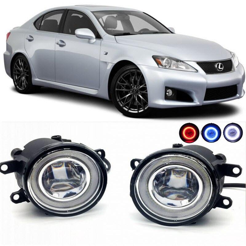 2 in 1 LED Angel Eyes DRL 3 Colors Daytime Running Lights Cut Line Lens Fog Lights Lamp for Lexus IS F 2008 2014