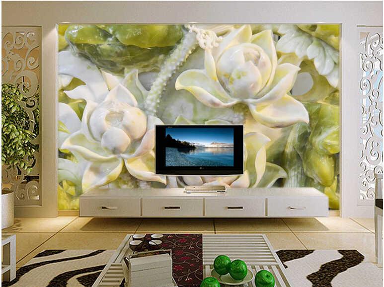 ที่กำหนดเอง papel de parede 3d, หยก lotus, ธรรมชาติภาพจิตรกรรมฝาผนังสำหรับห้องนั่งเล่นห้องนอนทีวีฉากหลังวอลล์เปเปอร์กันน้ำ