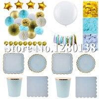 Blau Gold Seidenpapier Confetti Tassel Garland Papier Bälle Luftballons Abendessen Pappteller Cups Servietten für Hochzeit Dusche