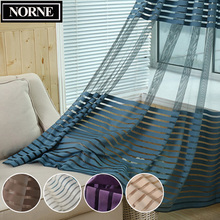 NORNE Decorative Semi Lace Striped sheer Curtain Tulle Voile Panels for Windows Living Room Kitchen Bedroom Rooms Door Curtains norne embroidered semi white voiles peacock feathers tulle sheer curtains for living room kitchen drape treatment for bedroom