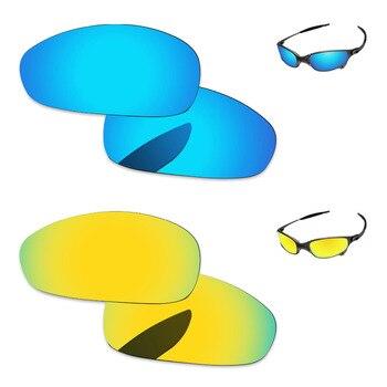 e1b9824f1b 24 K de oro y azul hielo 2 pares espejo polarizado lentes de recambio para  Juliet. gafas de sol marco 100% UVA y UVB protección