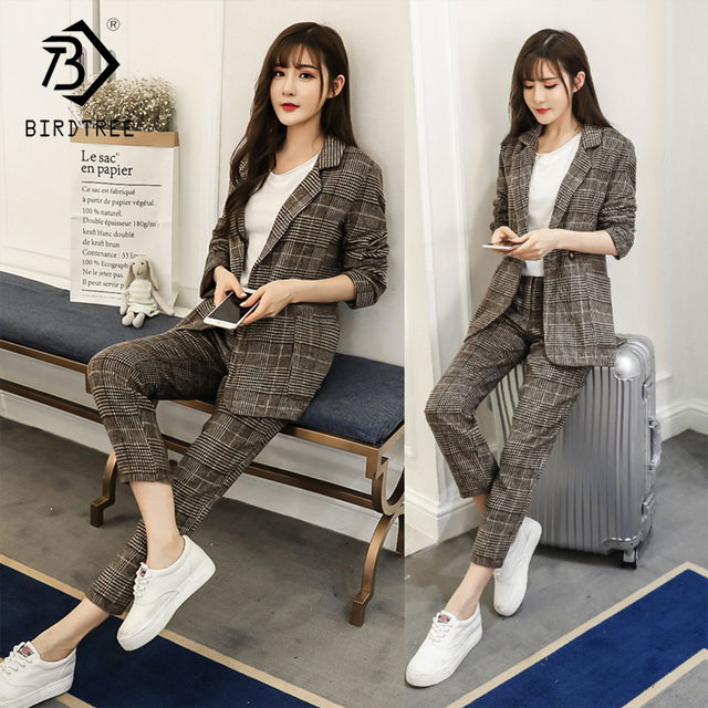 Women's Office Lady Two Pieces Plaid Elegant Single Button Turn-down Collar Blazers Full Length Trousers 2018 New Suit S88709Y