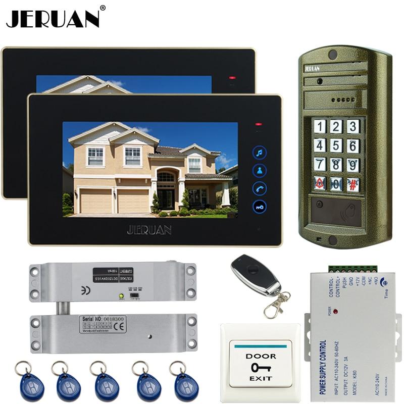 JERUAN 7 inch Video Door Phone Intercom System kit 2 TOUCH KEY Monitor + Metal Waterproof Access Password HD Mini Camera 1V2